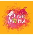 Fruit menu with orange slice and spray vector image