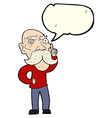 cartoon annoyed old man with speech bubble vector image