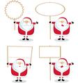 cartoon santas holding blank signs vector image