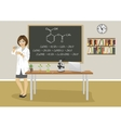 female teacher giving lecture in chemistry class vector image