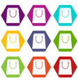 paper shopping bag icon set color hexahedron vector image