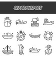 sea transport cartoon concept icons vector image