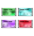 Set of colored blurry cinema ticket vector image