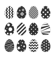 Set of egg stickers with different patterns for vector image