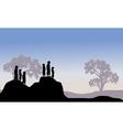 Silhouette of meerkat family vector image