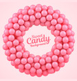pink candy balls round frame with place for your vector image