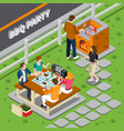 bbq party isometric composition vector image