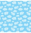 Seamless pattern with cute sheep and clouds vector image