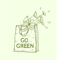Hand drawn reusable shopping eco bag vector image vector image