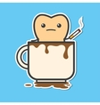 Tooth in cup of coffee with cigarette vector image