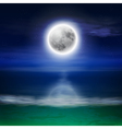 Beach with full moon at night vector image