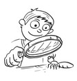 cartoon of boy with hand magnifying glass looking vector image