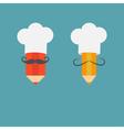 Chef hat mustache with pencil set Menu card Recipe vector image