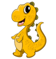 cute yellow dinosaur cartoon vector image