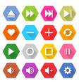 Flat media icon 16 set hexagon web button vector image
