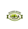 outdoor nature and green ecology label design vector image