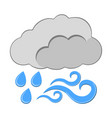 rain with wind icon weather label for web on vector image