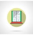 Round flat color winter window icon vector image