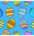 doodle of easter egg style on blue background vector image