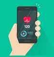 heartbeat indicator on mobile phone screen pulse vector image