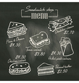 Sandwich doodle menu drawing on chalk board vector image