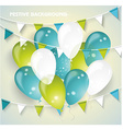 Festive background with colorful balloons pennants vector image