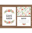 Wedding set with watercolor flowers and vector image vector image