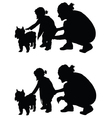 children with dog and mother silhouette vector image