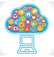 different social media icons make cloud vector image