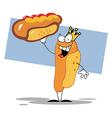 King Hot Dog Mascot Cartoon Character Showing XXL vector image