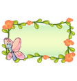 A butterfly and a flower plant frame vector image vector image
