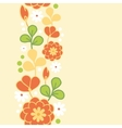 Orange kimono flowers vertical seamless pattern vector image vector image