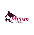 pet shop logo animals cat dog parrot icon vector image