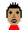 Red shirt man dizzy emoticon pixel art character vector image