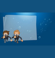 paper template with divers in the ocean vector image vector image