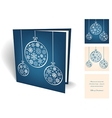Blue christmas greeting card with balls from vector image