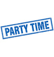 party time blue grunge square stamp on white vector image
