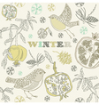 Retro Winter Birds Pattern vector image