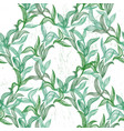 seamless pattern with green line leaves vector image