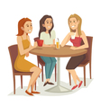 Three women drinking coffee and tea at the vector image