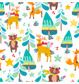 winter seamless pattern with a christmas forest vector image