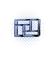Wooden shelf comics icon vector image