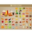 Food icons set Fruits and Vegetables icons Fast vector image