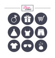 clothes accessories icons shopping signs vector image