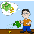 Watering money for it to grow vector image