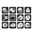 Silhouette Computer Media and disk Icons vector image vector image