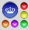 Crown icon sign Round symbol on bright colourful vector image