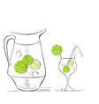 a glass of water with lime and pitcher vector image vector image