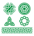 Celtic Irish green patterns and knots - St vector image vector image