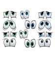 Blue and green cartoon eyes vector image
